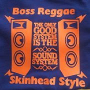 BOSS REGGAE SKINHEAD STYLE T-SHIRT NAVY & ORANGE 2
